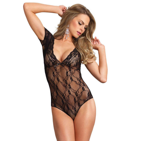 Sex Shop - LEG AVENUE FLORAL LACE BACKLESS TEDDY NEGRO - Sexshop Online y venta de productos Er�ticos muy baratos